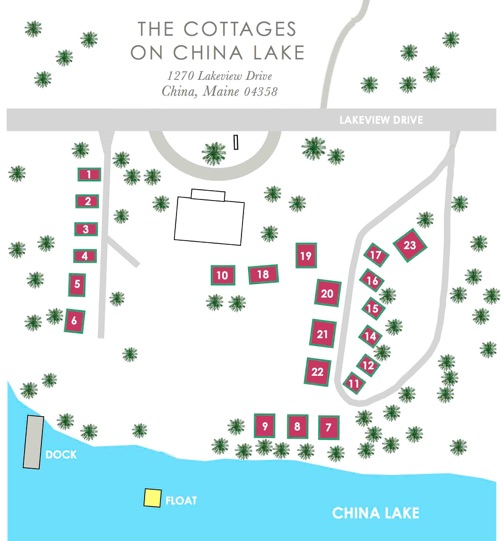China Lake Maine Map.1 Bedroom Cottages